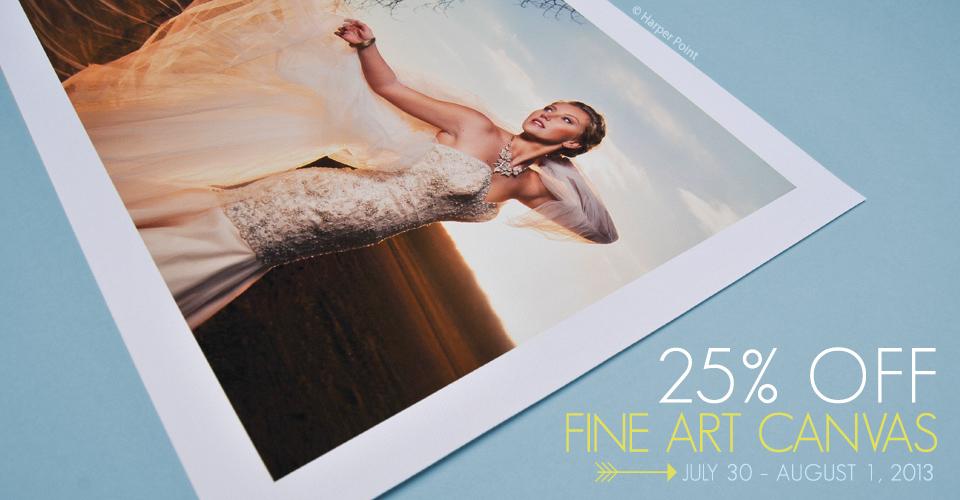 25% off Fine Art Canvas